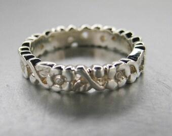 Wedding band, engagement ring flower band. 14k white gold flower band.
