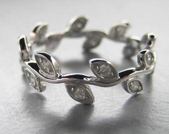 Leaf engagement ring.  Diamond leaf ring.  Leaf wedding band. 14k white gold.