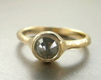 14k yellow gold  rose cut green diamond ring. Opaque diamond ring. Green diamond engagement ring. Hammered diamond ring. Promise ring.m