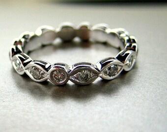 Wedding band. Engagement diamond ring.  14k gold.
