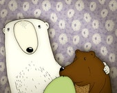 Family picture Illustration Polar bear Grizzly bear and Bird - Giclée animal art print for living room 7 x 9.5 inches