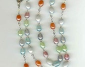 Handmade Rosary in Multi-Colored Luster Beads and Silver NEW PRICE From 30 to 25