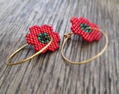 Earrings - Red, Green, Gold - Poppy Sparkles