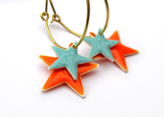 Shooting Stars - Bright Orange, SeaFoam and Gold