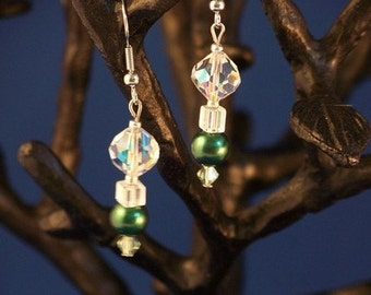 EMERALD GREEN, AURORA BOREALIS and SWAROVSKI EARRINGS