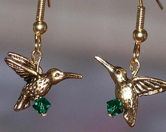 Hummingbird earrings with emerald green swarovski crystals