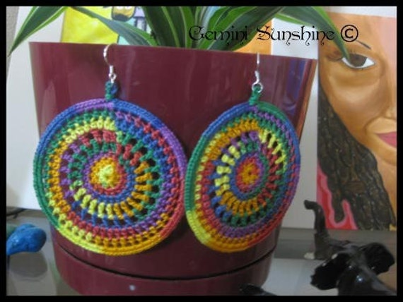 Rainbow Sol Crochet Earrings by Geminisunshine on Etsy