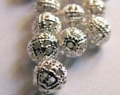 4 mm Silver Filigree beads