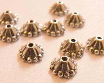 6mm Silver Flower Bead Caps
