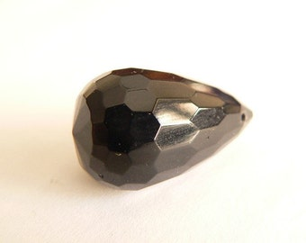 Large Black Briolette Bead REDUCED