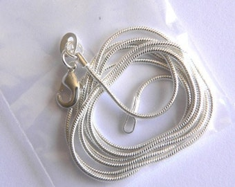 24 inch  Silver 1 mm snake chain necklace
