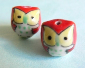 Red Baby Owl Beads