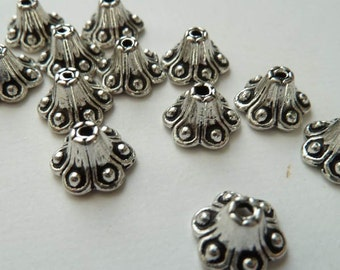 20 - Lovely Tall Silver Bead Caps 6mm
