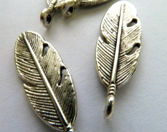Large Silver Feather Charms