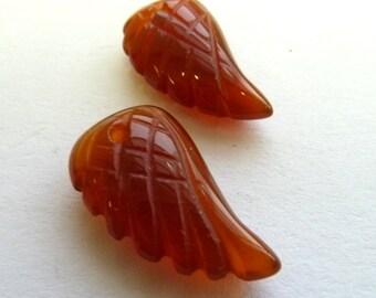 1 Pair Red Agate Angel Wings