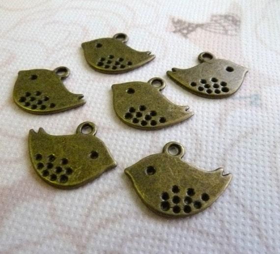 Baby Sparrow Bird Charms Bronze