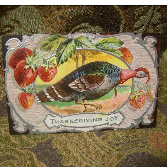 Vintage Thanksgiving Turkey Day Card - 1910