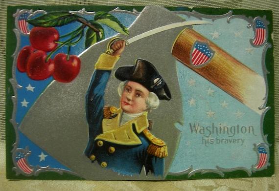 Vintage Antique Embossed Postcard - George Washington With His Sword
