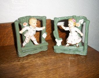 Pair Vintage Victorian Style Vases w/Boy and Girl (( ADORABLE )) 1960s-1970