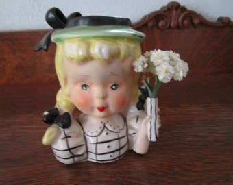 New Price--Was 40 dollars)))))  Vintage Head Vase -Child with pigtails holding tiny vase-  ADORABLE  1950s