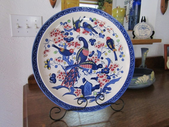 """Gorgeous 15""""  (large) Majolica/Polychrome  Peacock Charger (possibly Delft or Imari ) Was 45 Dollars"""