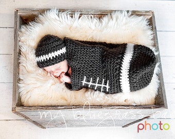 Football Baby Cocoon and Hat Set Newborn to 3 months Brown and White