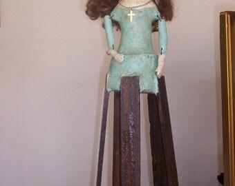 Large Primitive Antiqued OOAK Madonna Santos Paper Mâché  Doll