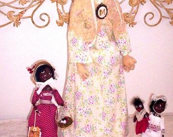 Primitive  Antiqued Huge OOAK Queen Anne Fine Art Doll