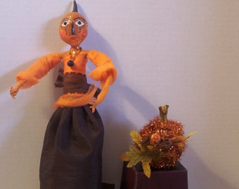 OOAK Paper Mache/Paper Clay  Queen Anne Halloween Doll Lady Eve Hallow