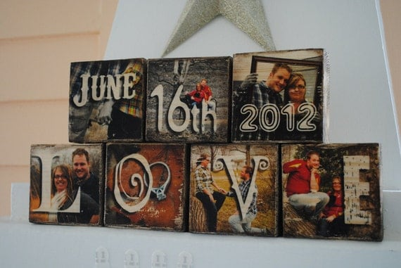 7 Photo Blocks - Images Transferred to Wood / Photo Transfer - Letter word / name / phrase of choice - Great for Wedding Gifts!