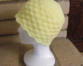 Hat, Crocheted, Pale Yellow