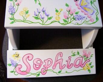 Handpainted Flip Stool -  Pastel Butterflies and Flowers
