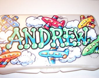 Baby Wipes Travel Case - Flying Airplanes -  Hand Painted and Personalized