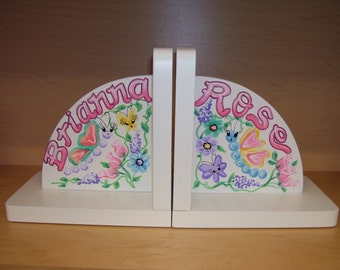 Childrens Bookends Hand Painted and Personalized Butterfly Garden Bookends