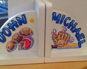 Children's Bookends - Hand Painted and Personalized Sports Theme Bookends
