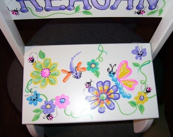 Handpainted Flip Stool - Funkadelic Butterflies and Flowers
