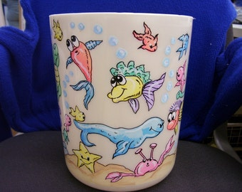 Wastebasket Under the Sea  Fish Handpainted and Personalized