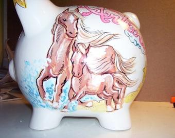 Unique Handpainted  Personalized Piggy Bank Horses