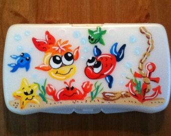 Baby Wipes Travel Case - Handpainted and Personalized - Fishies