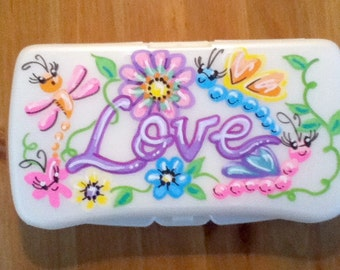 Baby Wipes Travel Case - Funky Love - Handpainted and Personalized