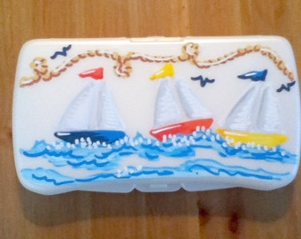 Baby Wipes Travel Case - Nautical - Handpainted and Personalized