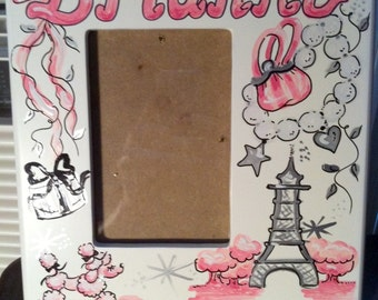 Picture Frame Paris Theme Handpainted and Personalized 4 x 6