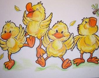 Childrens Art Print Dancing  Ducks - 8.5 x 11 Yellow