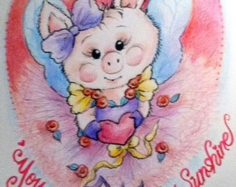 Piglet Valentine Nursery Art Print for Kids You Are My Sunshine 8.5 x 11