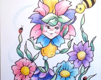 Children's Art Print Flower Baby and the Bee Bright Colors Flowers 8.5 x 11