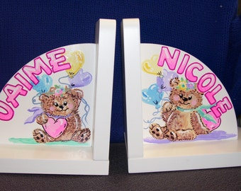 Bookends - Hand Painted and Personalized Teddy Bear Balloons Bookends