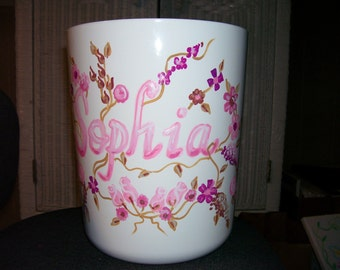 Wastebasket Pink  and Brown Flowers Handpainted and Personalized