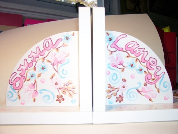 Children's Bookends - Handpainted and Personalized - Swirls and Flowers