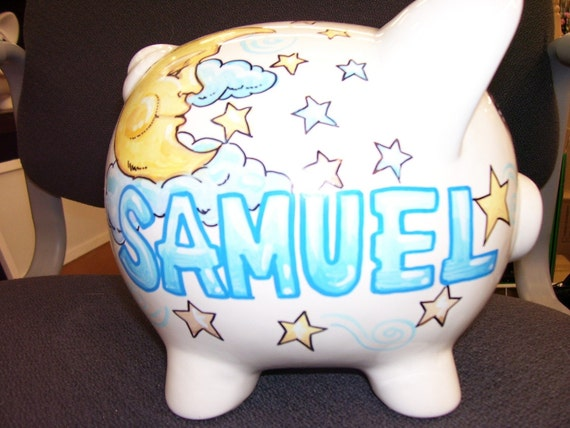 Piggy Bank Handpainted and Personalized  Moon and Stars