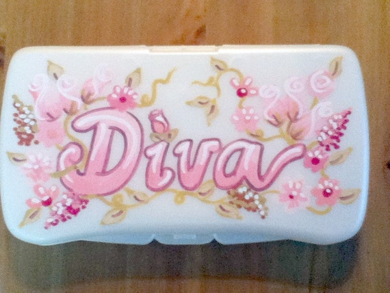 Baby Wipes Travel Case - Shabby Chic Design - Handpainted and Personalized